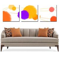 Wholesale Modern Original Paintings - 3 Pieces Original Abstract geometric patterns drawing modern geometry yellow, grey, red art wall in Home decoration painting