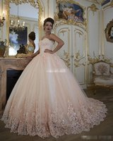 Wholesale Ruched Bodice Ball Gown - Vintage Blush Pink Wedding Dresses Bridal Gowns Turkey Lace Bling Beaded Tulle Sweetheart Corset Back Puffy Plus Size Ball Gown 2017