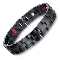 Wholesale Men Magnetic Bracelet Sale - Nomination Bracelet Black Stainless Steel Magnetic Bracelet For Men and Women Delicate New Hot Sale Summer Pure Black Bangle