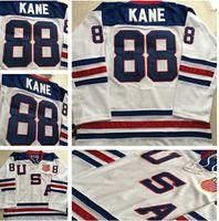 olimpik hokey formaları beyaz toptan satış-Chicago Blackhawks 2010 Olimpiyat Takımı ABD 88 Patrick Kane Beyaz Buz Hokeyi Formalar Nakış Logolar Hokey Forması