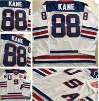 maillot de l'équipe de hockey usa blanc achat en gros de-Chicago Blackhawks Équipe olympique 2010 États-Unis d'Amérique 88 Patrick Kane Maillots de hockey sur glace blanc Broderie Logos Maillot de hockey
