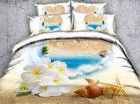 king size blumen bettdecken großhandel-Strand Bettwäsche 3D Floral Bedding Bettwäsche Set Twin Full Queen King Size Bettbezüge Kissen Shams Tröster Bett Set Tagesdecken Mädchen