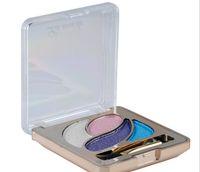 Wholesale dark blue eyeshadow resale online - Eyeshadow Glitter Colors Powder Makeup Palette Set Cosmetic With Brush Mirror Matallic Shimmer hot sell