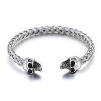 bracelete inoxidável da cabeça do crânio venda por atacado-Prata de Aço Inoxidável Cuff bangle Biker crânio duplo cabeça End Pulseira Aberta nó cadeia de Fio
