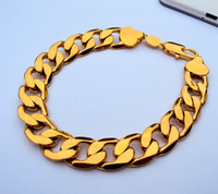 "Wholesale Real Gold Jewelry Bracelet - 24K GF Stamp Yellow real Gold 9"" 12mm Mens Bracelet Curb Chain Link Jewelry 100% real gold, not the real Gold not money."