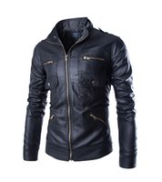Wholesale Jacket Coat Leather Korea - 2016 new arrive Korea men's jacket Multi zipper motorcycle pu leather jacket stand collar men's coats black 4659