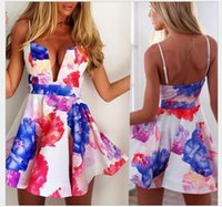 Wholesale Sexy Neck Design Dress - Special design New Spring Autumn Fall Women dress Floral A-line Sexy Deep V neck club party Mini Dresses Cling