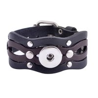 snap brazaletes de puño de cuero botón al por mayor-Slb18 -42 Venta al por mayor Snap Bracelet Bangles Black Diy Ajustable Pu Bracelet Bangle Cuff Fit 18mm Leather Snaps Button Jewelry Christmas Gift