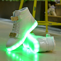 Wholesale Checkered Shoes For Women - Good quality 7 Colors LED Luminous Women&Men high top Sneakers LED Shoes For Adults USB Charging Lights Shoes Black White free shipping