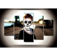 Wholesale Modern Face Oil Painting Canvas - Halloween Skull Face Girl,5 Pieces Home Decor HD Printed Modern Art Painting on Canvas   Unframed   Framed
