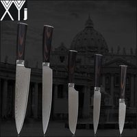 "Wholesale chef kitchens - XYJ damascus knives set 8 inch chef 8"" slicing 5.5"" utility 5"" utility 3.5"" fruit knife damascus stainless steel kitchen knives."