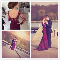 Wholesale Long White Dress Scalloped Neck - 2017 New Elegant Burgundy Long Sleeves Lace Evening Dresses Illusion Satin Court Train Party Prom Dresses With Buttons