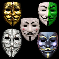 Wholesale Halloween Gold Costume - V for Vendetta Mask Costume Face Mask Gold Silver White Black White Green Guy Fawkes Anonymous Fancy Party Cosplay Costume Halloween Toys