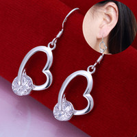 Wholesale couples beautiful - Beautiful Fashion Silver Plated Crooked Hollow Out Inlaid Heart Earrings Trendy Brand Jewelry for Women Couples Wedding Party Christmas Gift