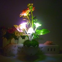 Wholesale Small Plugging Lamp - Colorful Plug-in Decorative Night Light Egg Shell Color Mushroom Lights Pomegranate Flowers Small Gifts Light-controlled Small Wall Lamp