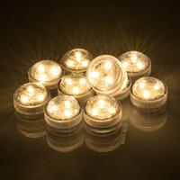 batería led luces para velas al por mayor-Luces redondas sumergibles impermeables de la vela de la decoración con 3 SMD alto brillo LED, baterías de la moneda para el jardín del baño de la piscina de la charca