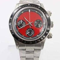 Wholesale Watch Numbers Face - 2017 New Arrival Old Brand Quartz Chronograph Wristwatch Watch Red Face Black Number Bezel Full Stainless Steel Band & Skeleton