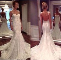 Wholesale Sweetheart Fish Tail Wedding Dress - Full Lace Country Mermaid Wedding Dresses Sweetheart Church Train Sheer Backless Boning Modest Fish Tail Bridal Wedding Gowns