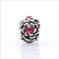 Se adapta a Pandora Pulseras 30 unids Rose Flower Spacer Silver Charm Bead Loose Beads para Chamilia Wholesale Diy European Sterling Necklace Jewelry