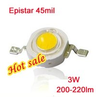 Wholesale 3w Pure White Led Bead - Epistar LED diodes 200-220lm SMD led diode lamp ultra bright lamp 45mil 3W led beads cool pure warm white 140 degree high flux