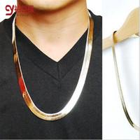 cadena de estilo de hueso al por mayor-Estilo de la manera del hueso de la serpiente de oro / quilla / espina de pez hip hop 18 k oro y cadenas plateadas plateadas collar de joyas para Bar Club Hombre / Mujer