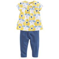 bacak çocuğu elbisesi toptan satış-Çiçek Çocuklarımızın Elbise Suit Kız Jumper Tayt Setleri Bluz kız elbise Legging Kıyafetler Marka Yeni 2016 Yaz Çocuklar T-Shirt