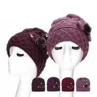 Wholesale Velvet Hats Ladies - Women's Hats Knitted Lady Winter Beanie Hat with Sticky Drill and Velvet Z-1941