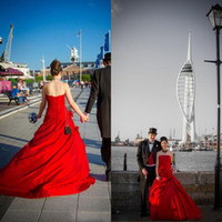 Wholesale Colored Wedding Dresses Winter - 2016 Sparkly Red Wedding Dress A Line Strapless Sleeveless Corset Back Lace-up Ruched Satin Colored Bridal Gowns with Handmade Flowers