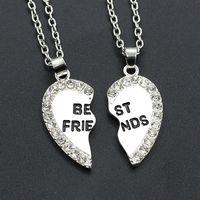 en iyi dost kalp kolye gümüşü toptan satış-Kolye Kolye Kadın Erkek Best Friend Kalp Gümüş Altın 2 Kolye Kolye Bff Iyi Dostluk Zincir Kolye