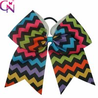 Wholesale Fancy Hair Bows - Wholesale 20 pcs lot Fancy 8 inch Chevron Printed Baby Girls Cheer Bow Multi-Color Grosgrain Ribbon Cheerleading Bows With Elastic Band