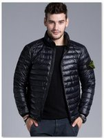 Wholesale Slim Thin Down Jacket - New 2017 Brand New Men Down jacket, spring autumn winter stoned island collar thin coats men brief paragraph big yards