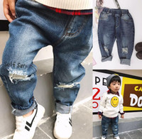 Wholesale Denim Pants Broken Girl - 2017 Autumn Baby Kids Jeans Broken Hole Design Boys Girls Denim Pants Children Casual Jeans Trousers 13423