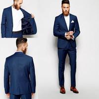 männer s blue tuxedo großhandel-Nach Maß Bräutigam Smoking Groomsmen Dunkelblau Vent Schlanke Anzüge Beste Mann Anzug Hochzeit / Männer Anzüge Bräutigam Tragen (jacke + Pants)