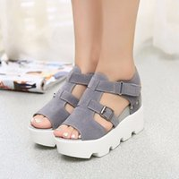 Wholesale Summer Ribbon Sandals - Roman style Wedges Sandals Casual Open Toe Summer Shoes Fashion Buckle Platform Thick Soled Shoes