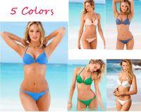 Wholesale Swimwear For Women Rose - 2016 Sexy Bikini Set Halter Neck bikinis Swimsuit for women bathing suits triangle Beach swimwear Bikini Swimsuit Set Top Low Rise Bottom