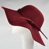 Wholesale Men S Fedora Hats - Wholesale- Free Shipping 2015 Summer Ladies Women\'s Fedora Beach Sun Hats Floppy Wide Large Brim Cloche Bowler Woolen Cap 100% Wool Hat
