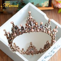 Hot Sale Vintage Vintage Tiara Crown Queen Tiaras Round Européenne Tiaras de mariage Bronze Large Crowns Cosplay Hair Jewelry Hg 296
