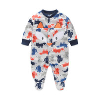 Wholesale Grey Christmas Pajamas - Grey Fox Baby Boys Clothes Rompers Pajamas Newborn Clothing Shirt Footcover Romper Infant Jumpsuits Wholesale 80pcs lot
