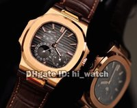 Wholesale Wind Powered - Super Clone Brand Luxury Sport Nautilus 5712R-001 5712GR-001 Rose Gold Automatic Mens Watch Moon Phase Power Reserve Leather Strap Watch