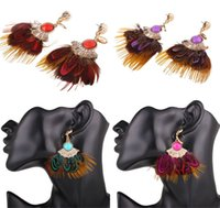 Vintage Bohemia Ear Drop National Feathers Tassel Pendant Pendentes 4 Color Retro Long Dangle Tassel Ear Studs Jóias Gift B852L