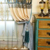 splicing lino cortina de algodn ventana cortinas de gasa diseo de moda floral bordado ventana tonos