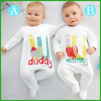 Wholesale One Piece White Baby - one piece baby rompers hot selling newest fashion daddy mummy letter lovely style white solid long sleeve outfits children clothing sets