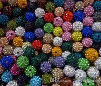 Wholesale Shamballa Cross Necklaces - hotsale 10mm 300pcs lot mixed multi color Crystal Shamballa Bead Bracelet Necklace Beads.Hot spacer beads Lot!Rhinestone DIY spacer