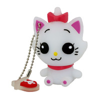 USB Flash Memory Stick Pen Drive 4GB 8GB 16GB 1GB 2GB White Cat PVC Mini U Disk para crianças