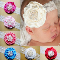 Wholesale Stereoscopic Colorful Flower Hair Band - New fashion Amour Baby Lace pearl Headbands Stereoscopic Colorful Flower Hair Band Girl Hair Accessories free shipping