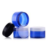 ingrosso contenitori cosmetici blu di plastica-10 pz / lotto 100g Blu Plastica PET Maschera Lozione Vasi Crema Vuote Cosmetici Packaging Bottiglie Riutilizzabili Contenitori all'ingrosso EJ04