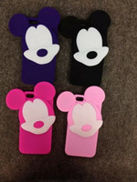 Wholesale Cartoon Phone Skin Protector - Cartoon mickey 3d soft silicone case phone back cover skin for iPhone 5 5s SE 6 6s plus w Screen Protector Film + Pen