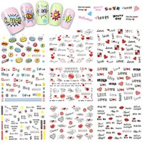 Wholesale Letter Nail Art Decals - Wholesale- 1 Sheet Love Heart Letter Nail Art Decals Water Transfer Nail Stickers Manicure Decor Sweet Decals Valentine's Day BLE2524-2534