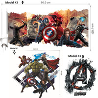 Wholesale Avengers Wall Stickers - 2016 Newest 3D printed The Avengers wall decor Kid's room stickers Halloween Christmas decoration Eco-friendly PVC decals American Superhero
