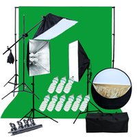 Wholesale Background Muslin Kit - Photography Equipment New Studio 2*2m background support with 3*2m muslin backdrop 4-lamp-holder softbox&light stand& 150w bulbs
